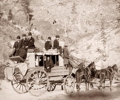 This picture was taken in 1889, and shows the Deadwood Stage in the Dakota Territory