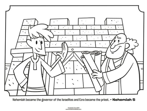 Free Coloring Pages Nehemiah Rebuilding Wall