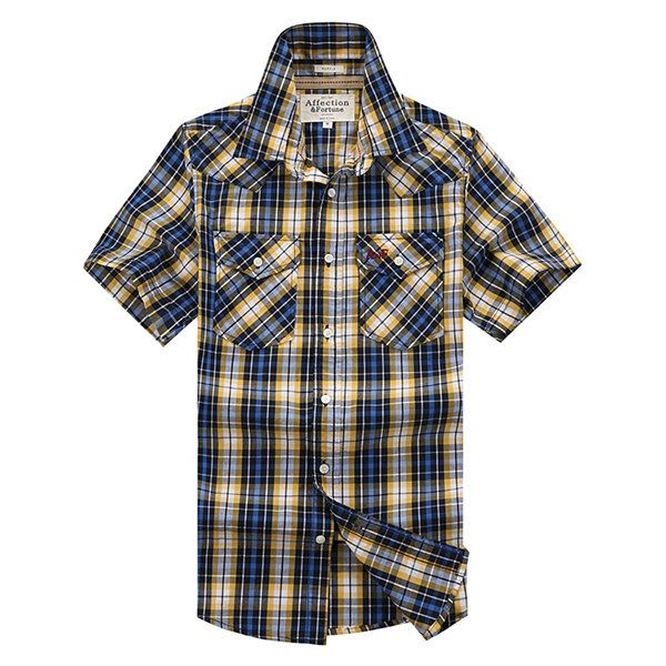 Outdoor Casual Loose Cotton Breathable Plaids Printed Band Collar Dress Shirts for Men
