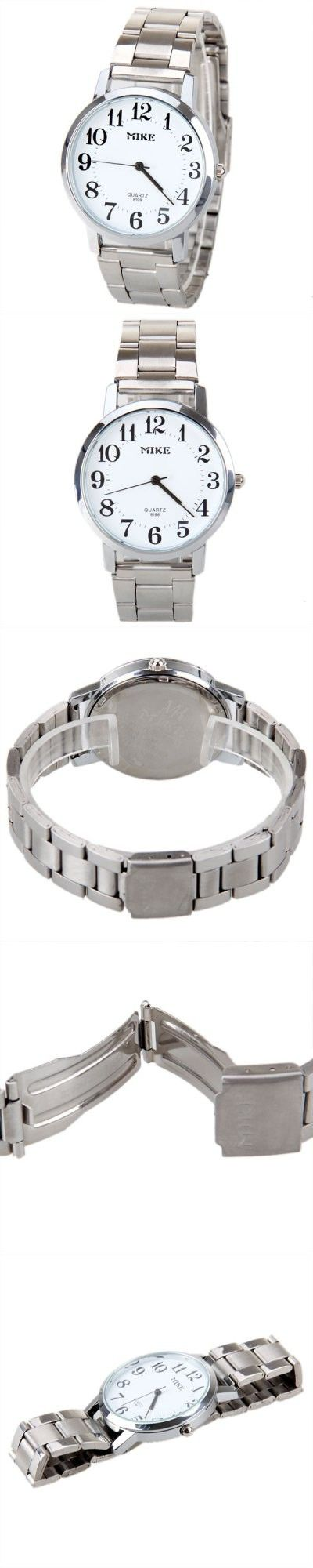 MIKE Silver Frame Quartz Watch White Round Dail with Steel Band for Men