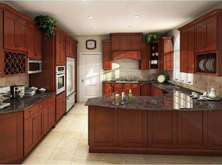 20 best images about countertops for cherry cabinets on for Kitchen colors cherry cabinets