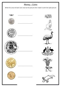 Coins Money Australia.  Write the value of each coin and then match it with the correct picture