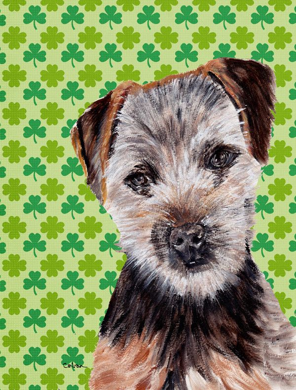 Norfolk Terrier Puppy Lucky Shamrock St. Patrick's Day House Vertical Flag