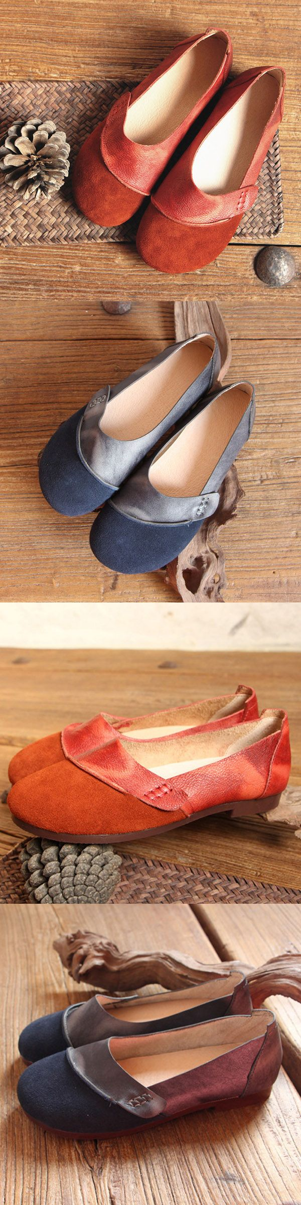 US$43.99 Socofy Genuine Leather Vintage Comfortable Soft Flat Shoes_Women Flat Shoes_Leather Shoes For Woman