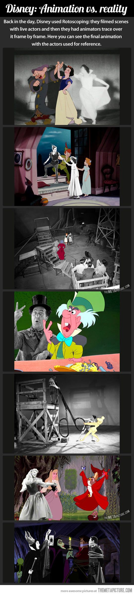 Disney animations spliced with the actors posing for reference. I love this!