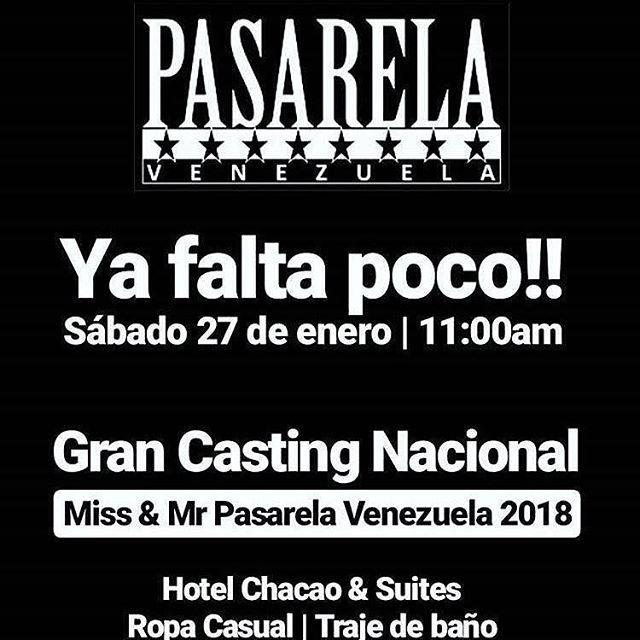 Vía  @gregorioarrietaoficial -  GRAN CASTING NACIONAL!!! SE BUSCAN LOS MEJORES MODELOS DEL 2018: CATEGORIAS MISS 16 A 25 AÑOS (168CM EN ADELANTE) MISTER 17 A 30 AÑOS (175CM EN ADELANTE) TEEN 15  A 20 AÑOS Y PETIT 17 A 28 AÑOS AMBOS SEXOS (ESTATURA LIBRE). INFANTIL 06 A 14 AÑOS. ESTA ES TU OPORTUNIDAD DE FORMAR PARTE DE NUESTRO ESPECTACULAR CONCURSO QUE TE DA LA OPORTUNIDAD DE SER VENEZUELA EN EVENTOS INTERNACIONALES SER IMAGEN DE LA ORGANIZACION  RECONOCIDAS MARCAS Y FIRMAS ADEMAS ATRACTIVOS…