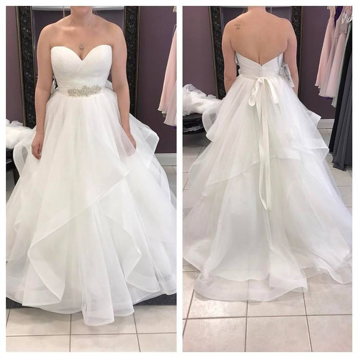 Strapless Sweetheart Neck Ivory Organza Wedding Dress with Sash,apd2274