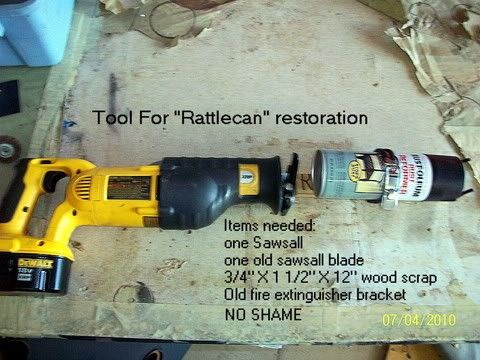 Rattle Can Shaker by e-tek -- Homemade rattle can shaker constructed from a Sawzall, surplus lumber, a sawzall blade, and a fire extinguisher bracket. http://www.homemadetools.net/homemade-rattle-can-shaker-2