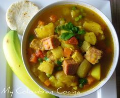 Sopa de Mondongo. A soup containing tripe with potatoes, peas, carrots, coriander and corn.