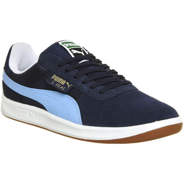 Puma G Vilas 2 ($89) ❤ liked on Polyvore featuring shoes, peacock pearl blue white gum, trainers, unisex sports, blue and white shoes, puma footwear, tenny shoes, perforated shoes and perforated leather shoes