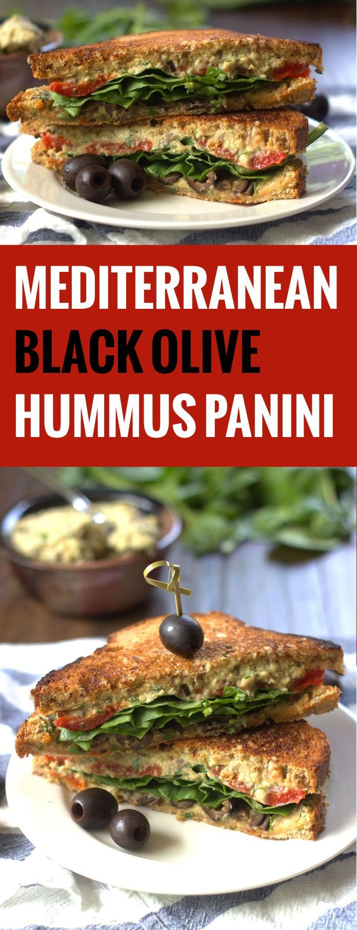 Grilled Mediterranean Black Olive Hummus Panini Sandwiches #CalOlivesMedRecipe