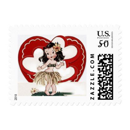 Valentines Day Hula Girl Postage Stamps Sheet 20 - Saint Valentine's Day gift idea couple love girlfriend boyfriend design