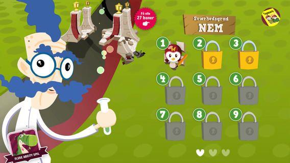 Lær med møgfuglene er gratis, men der er inapp køb i denne app. man skal fodre fuglene med bogstaver. Den første runde skal man bare fodre dem, men så beder de om bogstaver. Alle baner koster 13 kr.