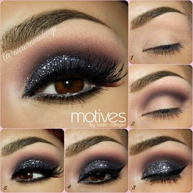 Sparkling Smokey Eye | Step-By-Step Eye Make Up Tutorial | Want to do a smokey eye with a twist? Layer some glitter on top of the black for a little bit of a sparkle