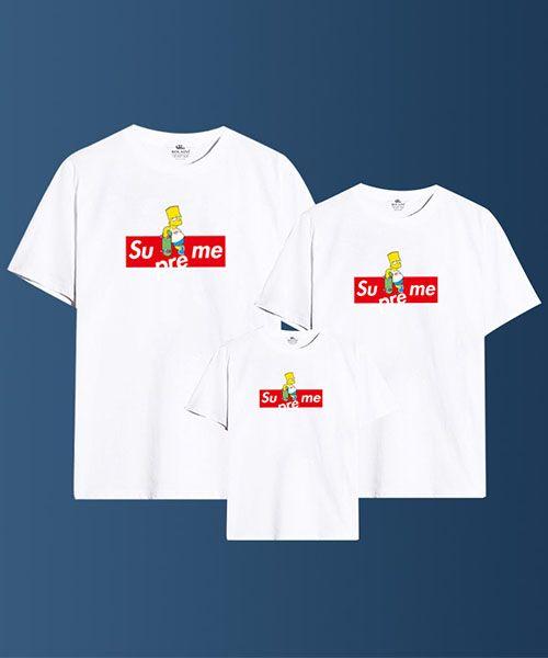 シュプリーム シンプソンズ コラボ tシャツ 親子服 supreme simpsons パロディ Tシャツ 親子用 おしゃれ カップル ペアルック♡