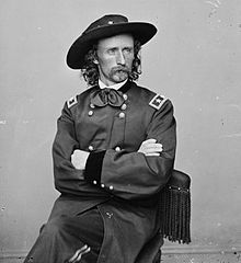 Custer developed a strong reputation during the Civil War. His 1st major engagement, the 1st Battle of Bull Run. His association w/ several impt officers helped his career, as did his success as a highly effective cavalry commander. Custer was promoted to the temporary rank (brevet) of major general. (At war's end, he reverted to his permanent rank of captain.) At the conclusion of the Appomattox Campaign, in which he troops played a decisive role, Custer was at Gen Robert E.Lee's surrender.