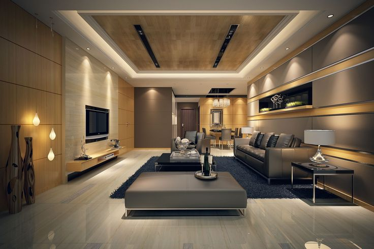 Wide Modern Living Room With Black Coffee Table And Grey Sofas On Dark Carpet Rug