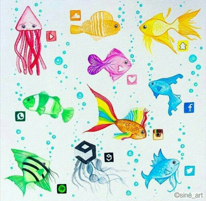 Social media fish drawing