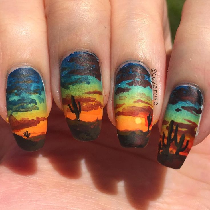 Desert sunset southwestern nails nail art