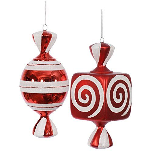 Vickerman Red / White Fat Candy Christmas Tree Ornaments