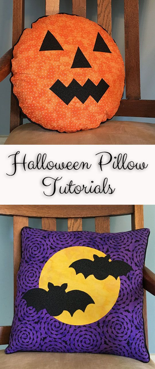 Appliqued Halloween jack-o-lantern or gone batty pillow tutorials with free templates