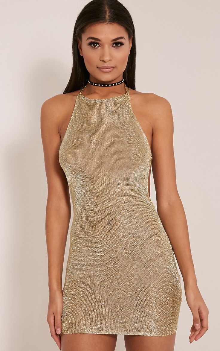 Charlay Gold Sheer Metallic Halterneck Mini Dress Image 1