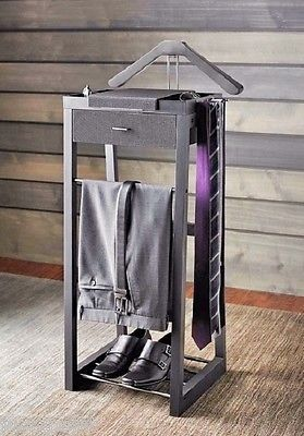 Valet-Stand-Suit-Rack-Organizer-Clothes-Hanger-Butler-Chair-Wardrobe-Dressing