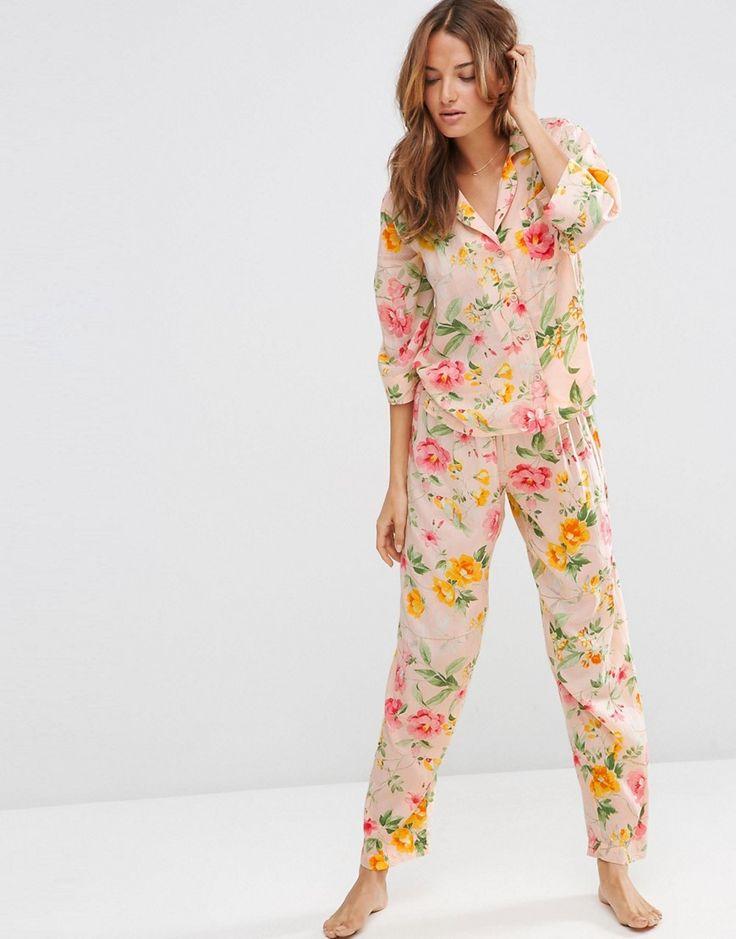 Image 4 ofASOS Floral Bloom Traditional Shirt & Long Leg Pyjama Set