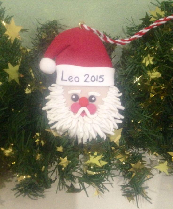 Personalised sparkly Santa tree decoration