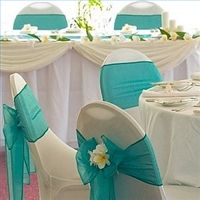 Great Decor for an Ariel Wedding alternate the teal (boys colors) and deep purple (maids colors)