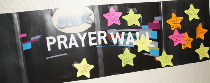 An interactive wall focus where young people wrote their prayer on a post-it note and posted it to the wall.