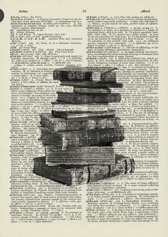 Books Printed on old dictionary page