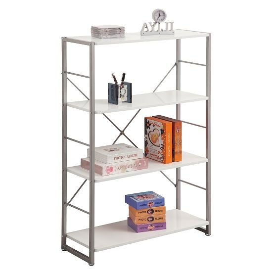 Kassel Tall Bookcase In Grey Frame With 4 White Gloss Shelf. 72 best Office Furniture   Accessories images on Pinterest