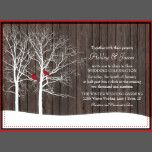 Rustic woodlands winter wedding invitations designed for bride's planning a wedding in winter months. The rustic wedding invitation design features a wood grain background with tree silhouettes. On the tree branches sit two red cardinals welcoming your guests to a wedding they wont forget. There is a coordinating wedding suite and products in the gallery. Simply Search Red Cardinal in COLLECTIONS. I also have this design in a horizontal paper layout.