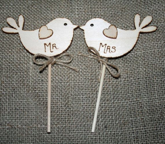 Mr & Mrs Bird Cake Topper  Rustic Cake Topper by Melysweddings, £7.95