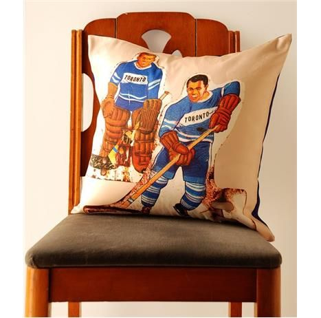 """Designed by Avril LoretiThis goes out to all the hockey fans that need a pillow to clench while watching that nail biting game! A perfect touch in a man cave, little boys room, or any Toronto fan's living space! This pillow cover fits a 16"""" x 16"""" pillow form that you can find at any local fabric store If you're interested in buying the insert along with the cover please send me an email.Description: This listing is for 1 printed pillow cover with Toronto Talbe Hockey Players."""