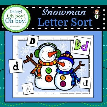 "Thanks so much for viewing our ""Snowman Letter Sort"" packet! This packet is designed to offer a fun, engaging and educational way to increase letter recognition in different fonts during your Winter/Snowman unit. This packet requires a little bit of prep."