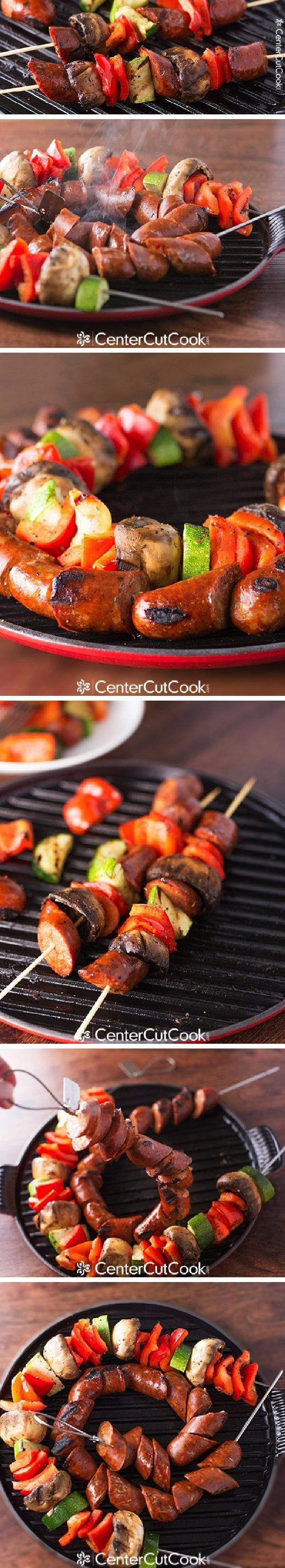 Smoked tender CHICKEN SAUSAGE GRILLED on a skewer with red peppers, zucchini and mushrooms!