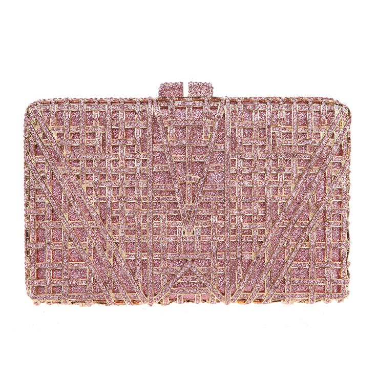 Fawziya Hollow Out Box Envelope Clutch With Chain Rhinestone Clutch Evening Bags-Pink