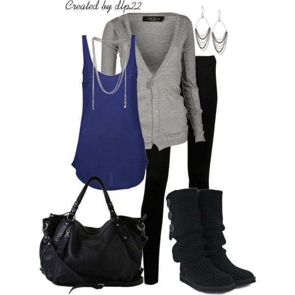 """""""Quick and Easy for Fall"""" by dlp22 on Polyvore: Black Colors, Quick Outfits, Quick Easy Outfits, Cobalt Blue, Fall Outfits, Black Plants, Blue Grey, Denim Outfits, Royals Blue Outfits Winter"""
