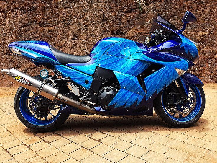 The Blue Raptor | Kawasaki Ninja ZX1400 custom airbrushed by PAZ.