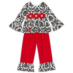 Girls Black Damask Red Corduroy Pant Set