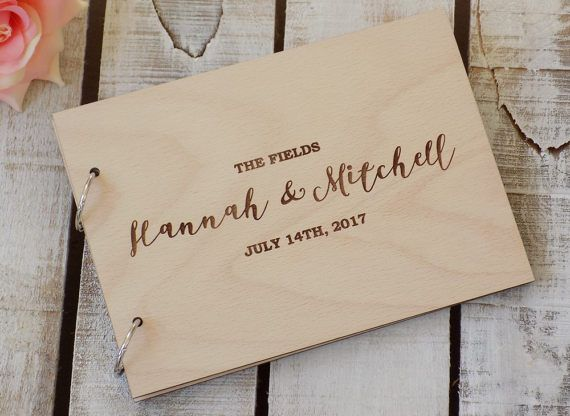 Wood Wedding Guest Book Rustic Wedding Guest Book Custom