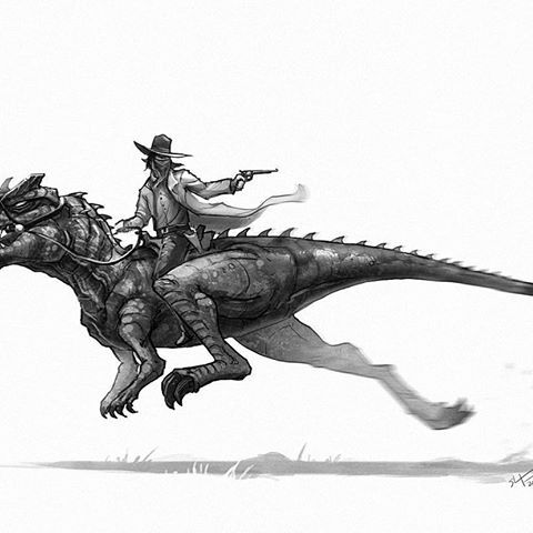 An outlaw can always rely on an Ceratosaurus for a clean get away. #oldwest #dinosaurs #dinosaur #ceratosaurus #outlaw #cowboy #instaart #conceptart #art #illustration #creaturedesign #characterdesign #draw #drawing #instagood