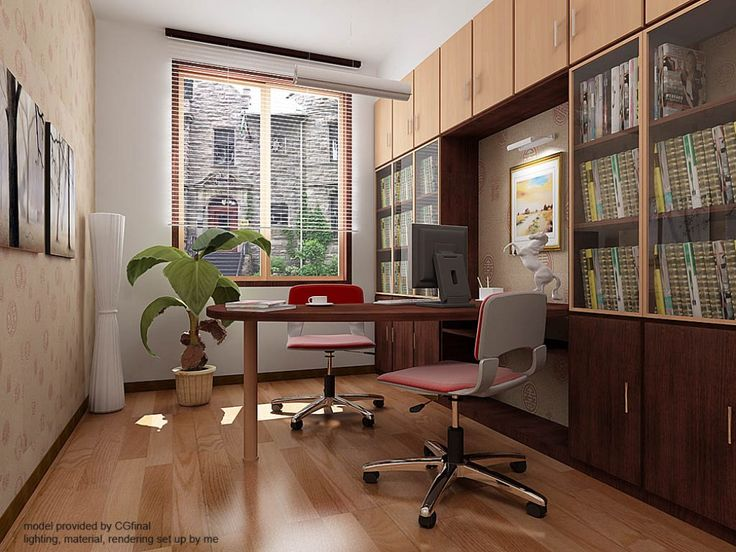 12 chic home office designs for small space modern small home office design with curved wooden computer table and movable red two chairs a
