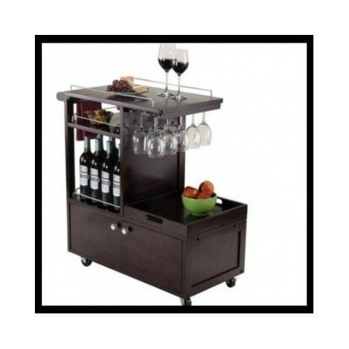 Wine-Serving-Cart-Rolling-Cabinet-Bar-Kitchen-Utility-Trolley-Glass-Holder-Tea