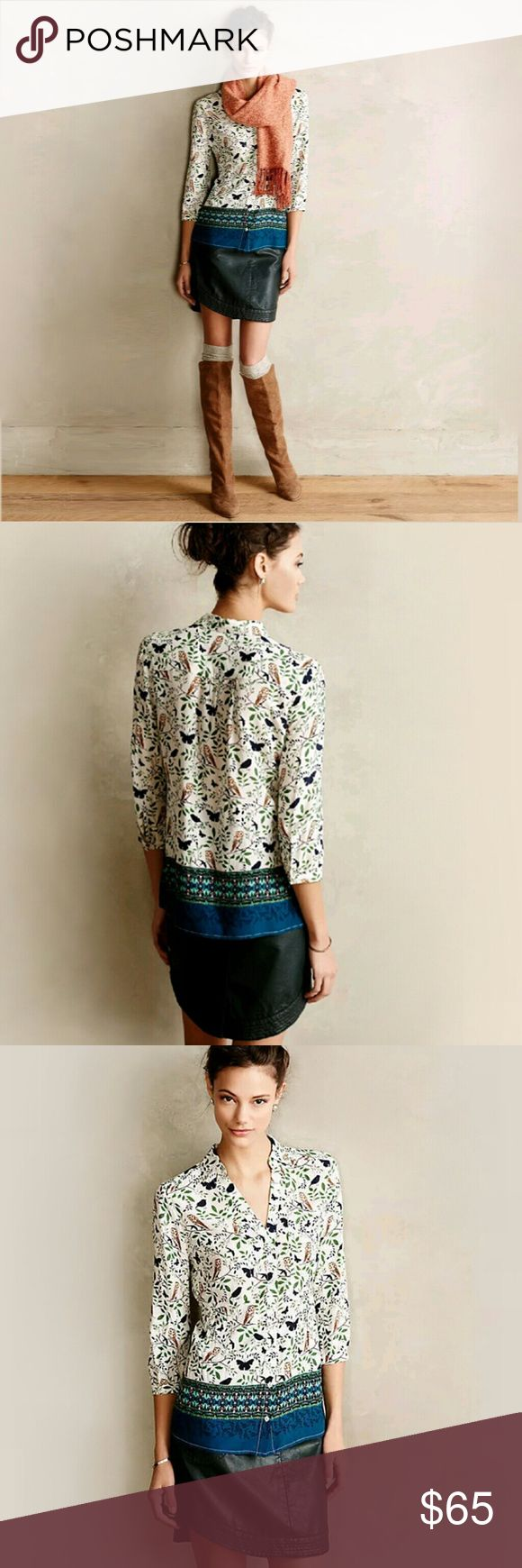 New! Anthropologie Top Bird Butterfly Owl Shirt New! This is the beautiful Anthropologie  Woodland Walk top with birds butterflies owls and leaves by Maeve! This is an adorable Anthropologie long sleeve button front shirt with a delightful bird butterfly owl leaf print and a teal blue band of color along the bottom. Perfect for the outdoor nature lover and for girls who love birds and butterflies. The comfortable machine washable rayon fabric is great year round. Brand new with tags or new…
