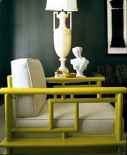 Yellow bamboo with black walls and white glossy lamps