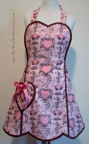 1940's Heart Bib Valentines Apron - Vintage Reproduction (Pink & Chocolate Cupids Hearts) FRONT VIEW