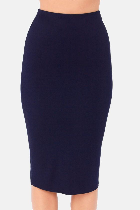 getting haute in here navy blue pencil skirt